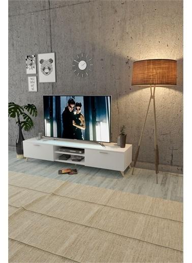 Mobitopya Tv Ünitesi Altı / 2 Kapaklı / Beyaz Beyaz